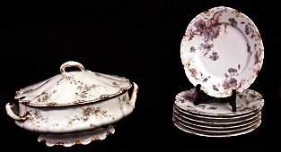 760: LIMOGES FLORAL GILT PORCELAIN PLATES & TUREEN