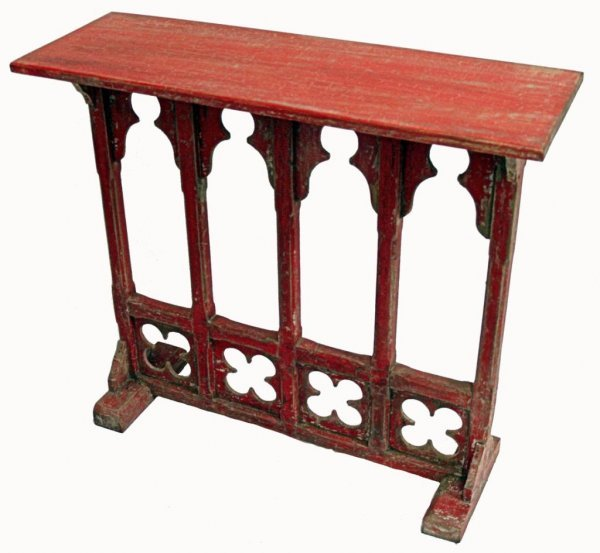 777: GOTHIC REVIVAL CARVED TEAKWOOD TABLE IN RED PAINT