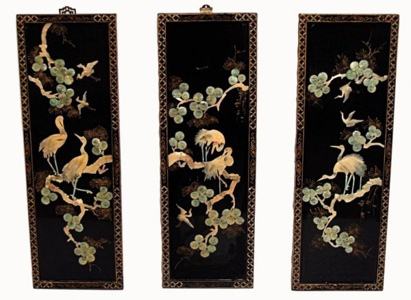 850: CHINESE LACQUER PANELS, SHELL CARVING,  BIRD SCENE
