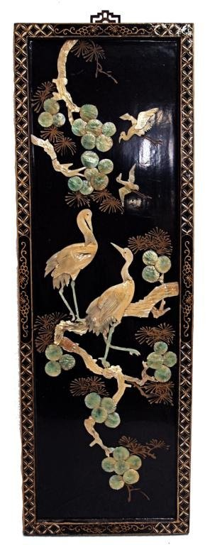 850: CHINESE LACQUER PANELS, SHELL CARVING,  BIRD SCENE - 2