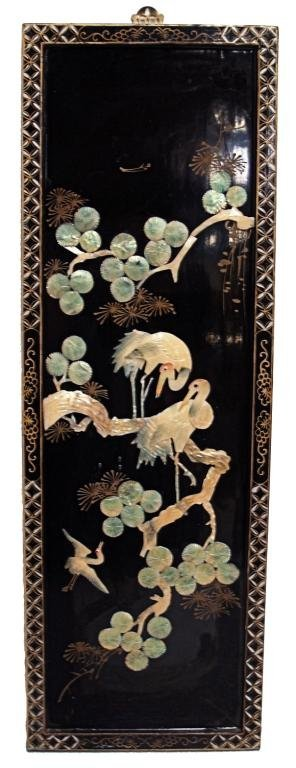 850: CHINESE LACQUER PANELS, SHELL CARVING,  BIRD SCENE - 3