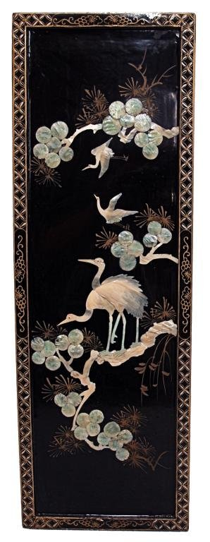 850: CHINESE LACQUER PANELS, SHELL CARVING,  BIRD SCENE - 4