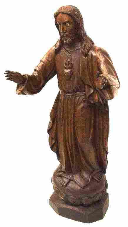 ANTIQUE LIFE SIZE RELIGIOUS CARVED STATUE, JESUS