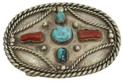 NATIVE AMERICAN SILVER TURQUOISE RED CORAL BUCKLE