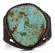 LARGE NATIVE AMERICAN SILVER  TURQUOISE CUFF