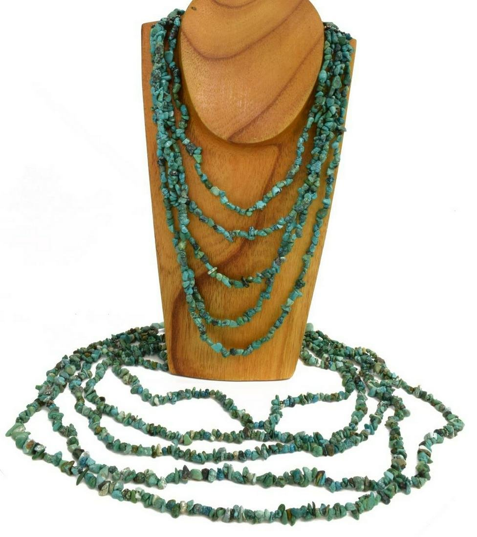 (2) NATIVE AMERICAN TURQUOISE BEADED NECKLACES