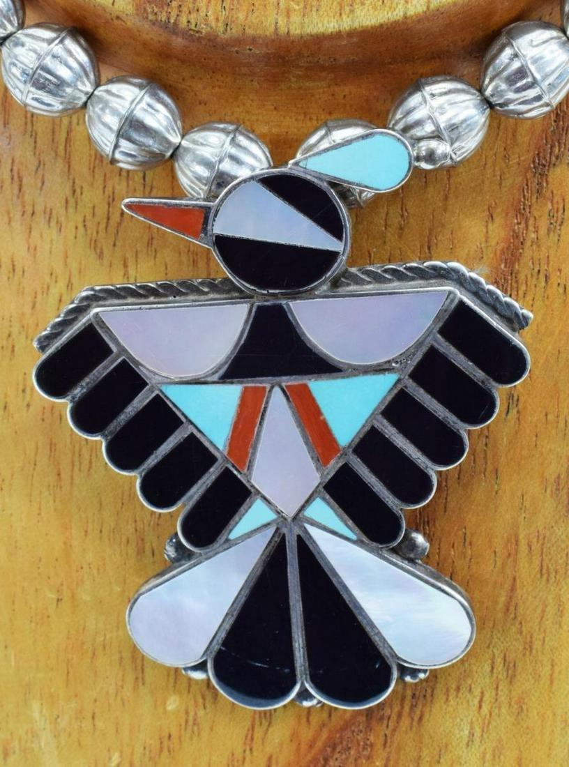 ZUNI MULTI-STONE INLAY THUNDERBIRD NECKLACE