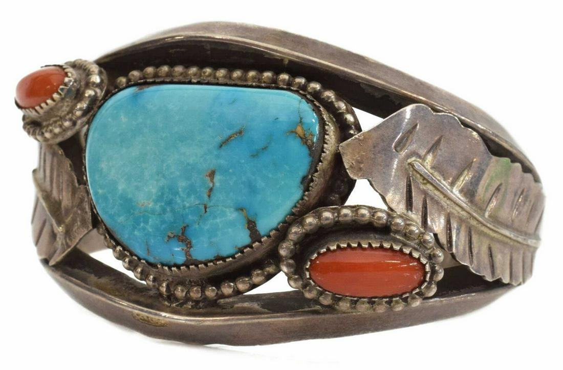 NATIVE AMERICAN SILVER TURQUOISE RED CORAL CUFF