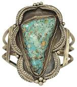 NATIVE AMERICAN SILVER  TURQUOISE CUFF BRACELET
