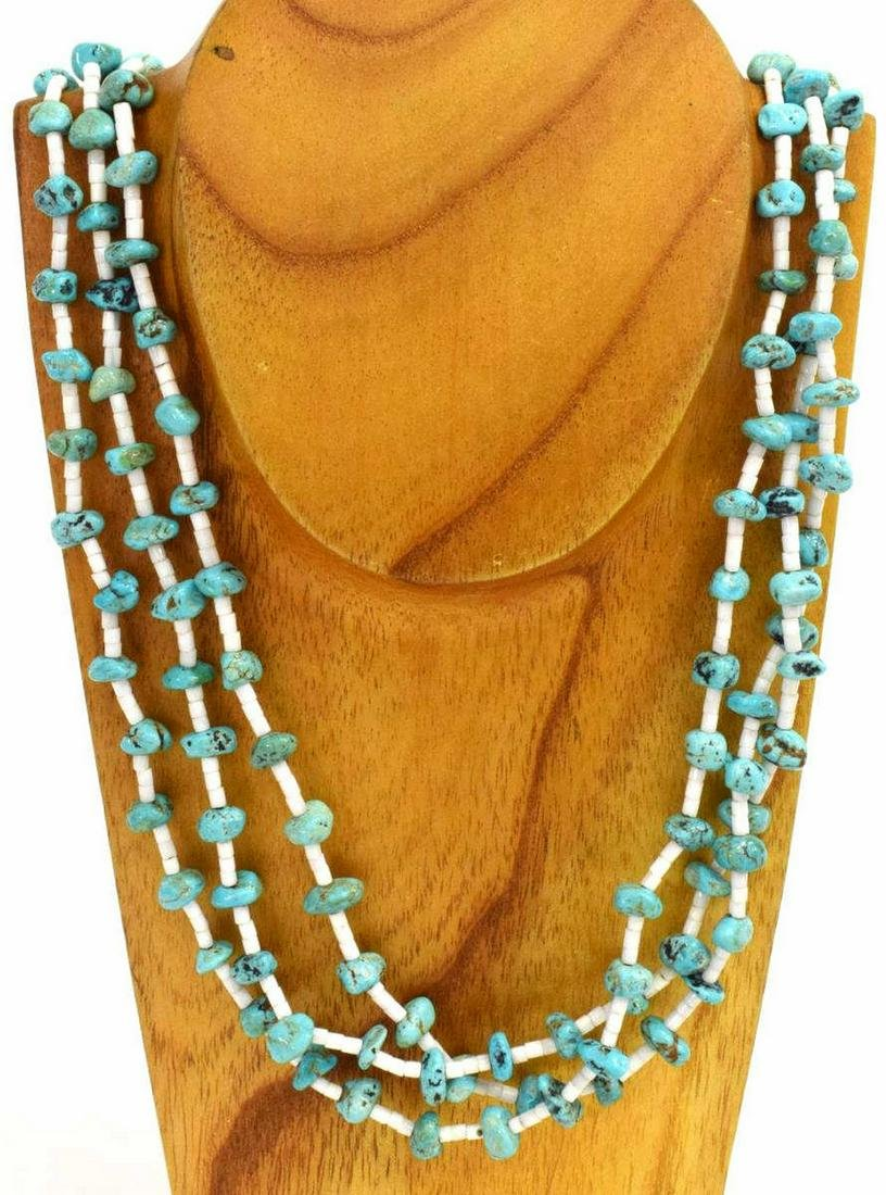 NATIVE AMERICAN TURQUOISE HEISHI BEADED NECKLACE