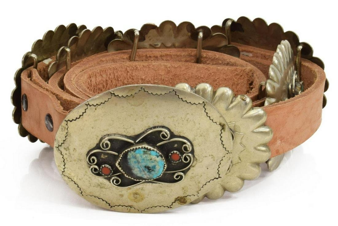 NATIVE AMERICAN TURQUOISE & CORAL CONCHO BELT