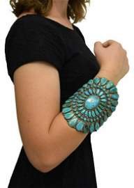 SPECTACULAR LARGE ZUNI TURQUOISE CLUSTER CUFF