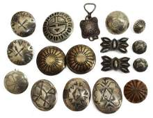 (LOT) NATIVE AMERICAN SILVER & OTHER METAL BUTTONS