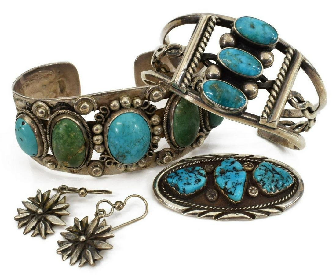 (4) NATIVE AMERICAN & SOUTHWEST SILVER JEWELRY