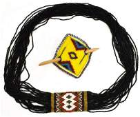 (2) NATIVE AMERICAN SEED BEAD NECKLACE & BARRETTE