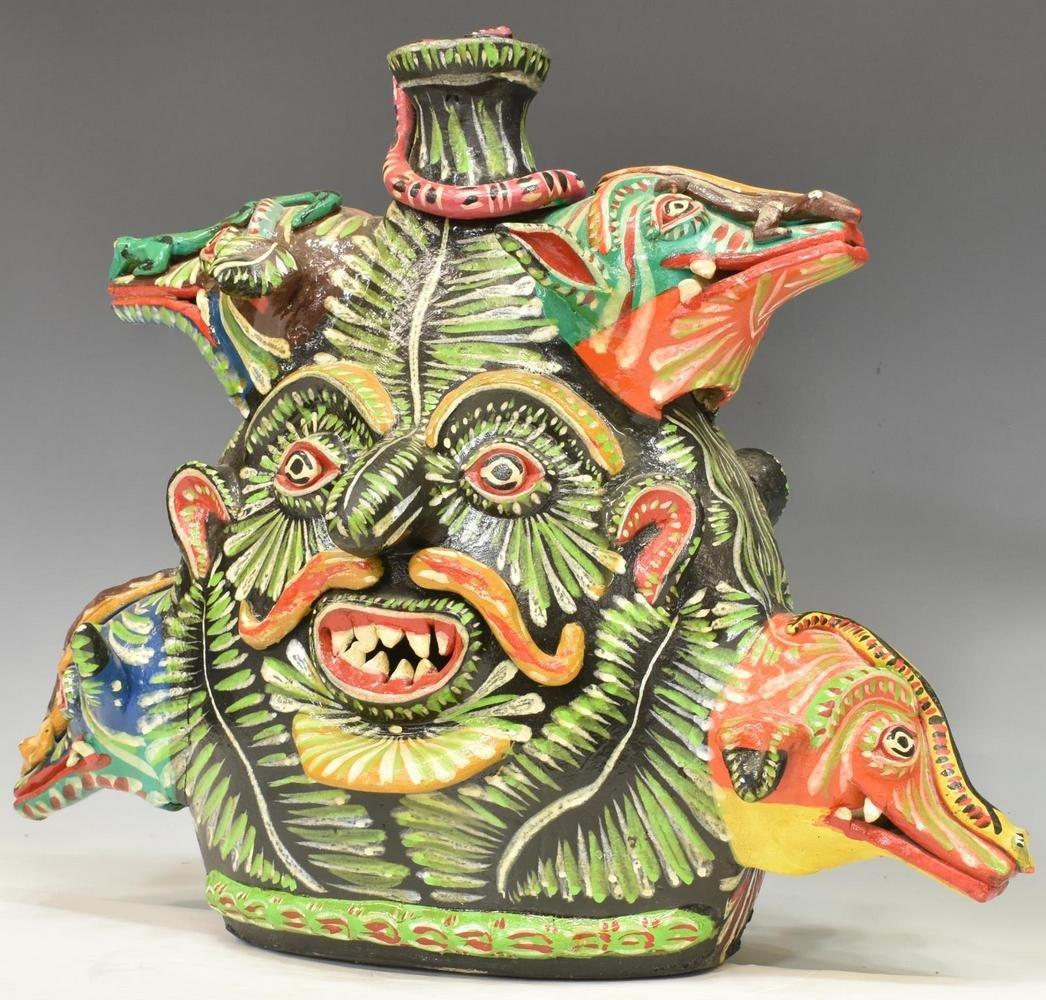MEXICAN FOLK ART POTTERY ALEBRIJES FACE JUG