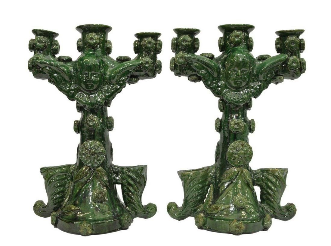 (2) LARGE MEXICAN GREEN GLAZED CERAMIC CANDELABRAS