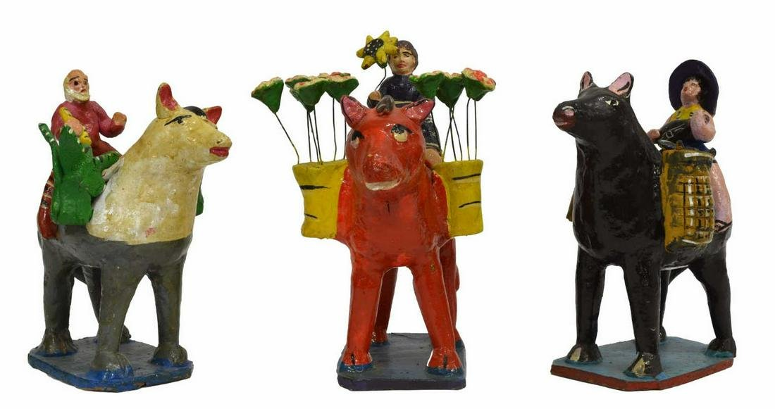 3)MEXICAN FOLK ART GLAZED CERAMIC HORSEBACK RIDERS