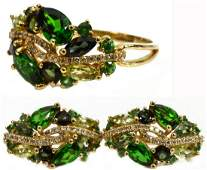 2 14K GOLD PERIDOT QUARTZ DIAMOND RING  EARRINGS