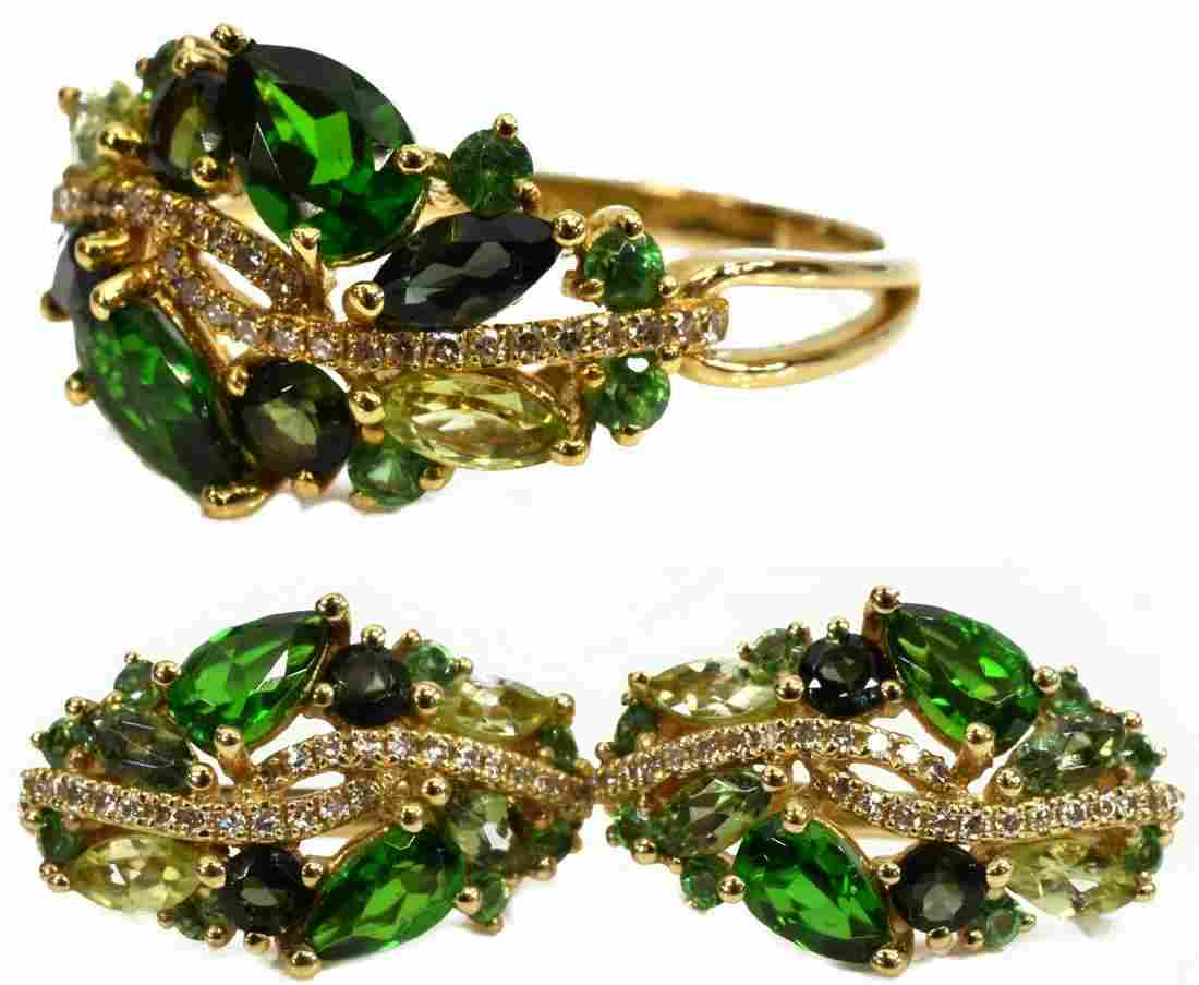 2) 14K GOLD PERIDOT QUARTZ DIAMOND RING & EARRINGS