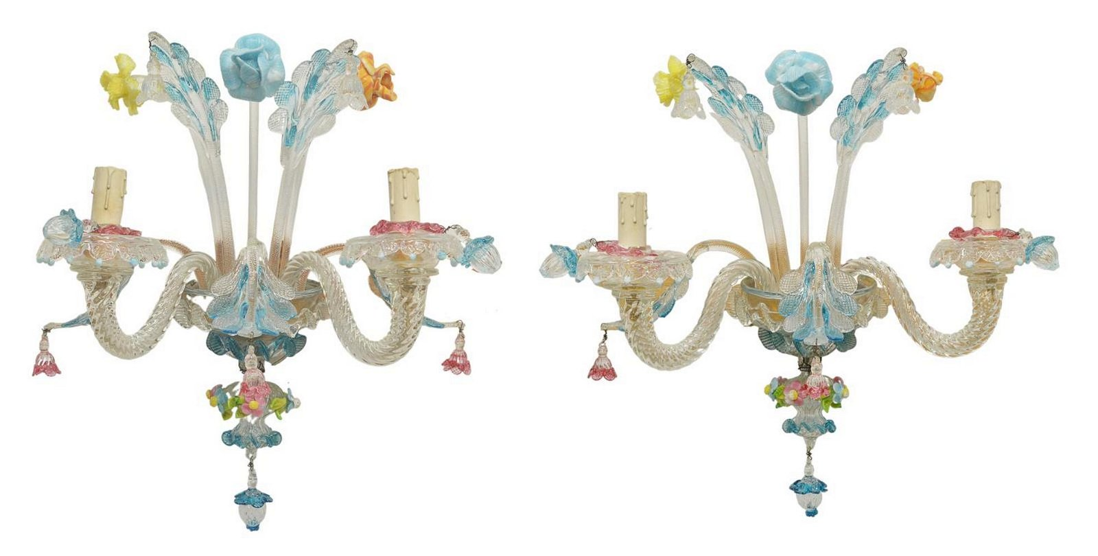 (2) ITALIAN MURANO GLASS REZZONICO WALL SCONCES
