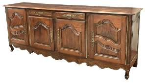 FRENCH LOUIS XV STYLE CARVED OAK SIDEBOARD