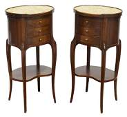 (2) FRENCH LOUIS XV STYLE MARBLE-TOP NIGHTSTANDS