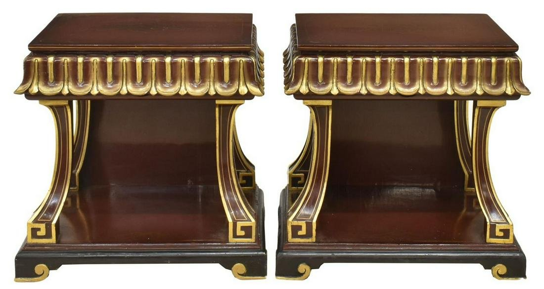 (2) ORIENTAL GILT & RED LACQUER BEDSIDE TABLES