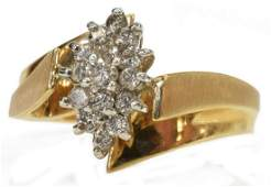 ESTATE 14KT YELLOW GOLD  DIAMOND CLUSTER RING