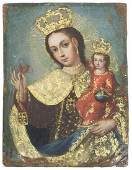 SPANISH COLONIAL RETABLO ON COPPER MADONNA  CHILD