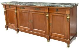 FRENCH EMPIRE STYLE MARBLE-TOP MAHOGANY SIDEBOARD