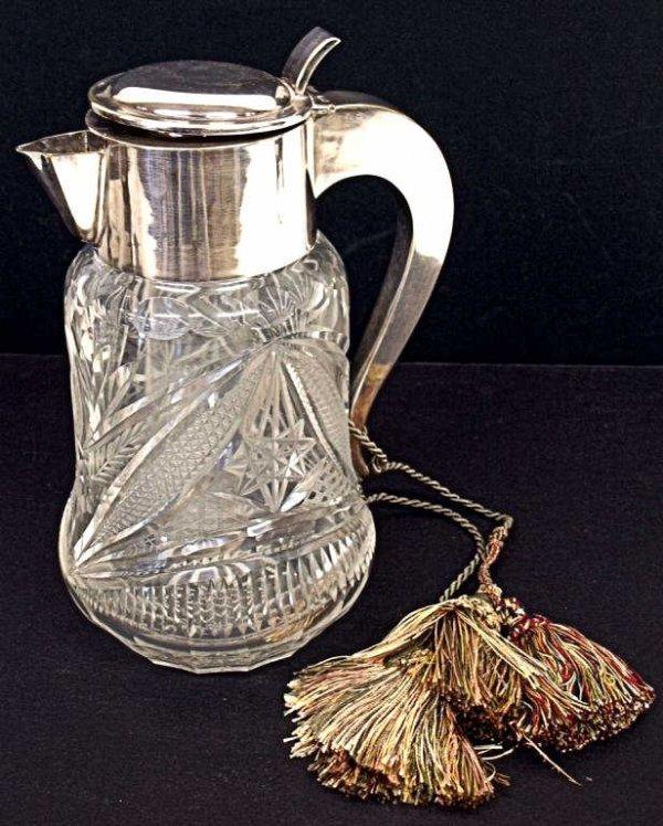 2: SIZEABLE VINTAGE CUT GLASS & SILVER PLATE PITCHER