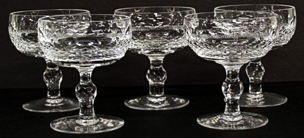 6: WATERFORD CUT CRYSTAL CHAMPAGNE STEMS, COLLEEN