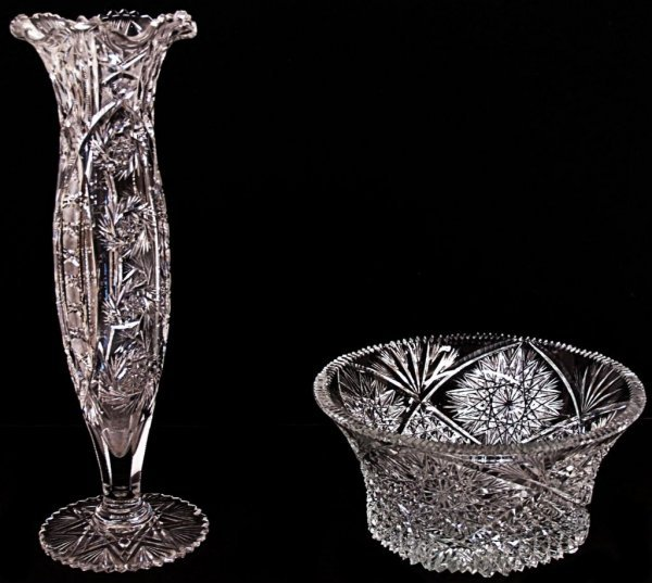 7: LARGE COLORLESS CUT GLASS VASE & SIGNED BOWL