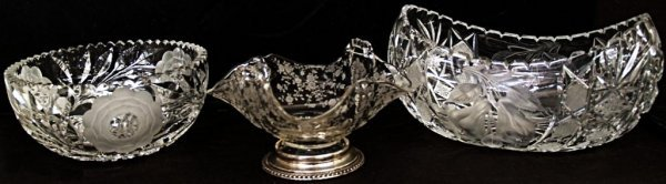 8: LOT OF CUT GLASS BOWLS, PEAR & FLORAL ETCHING