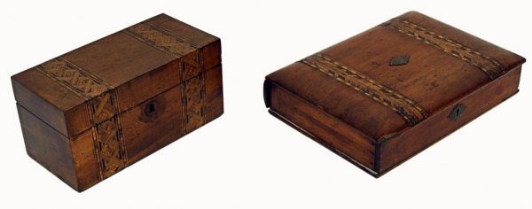 16: ANTIQUE TUNBRIDGE WARE BOOK BOX, INLAID TEA CADDY