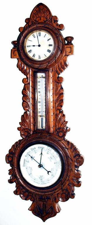 19: ANTIQUE CARVED OAK CLOCK, BAROMETER, THERMOMETER