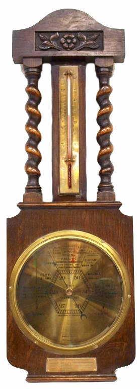 20: ENGLISH BARLEY TWIST BAROMETER THERMOMETER C.1930