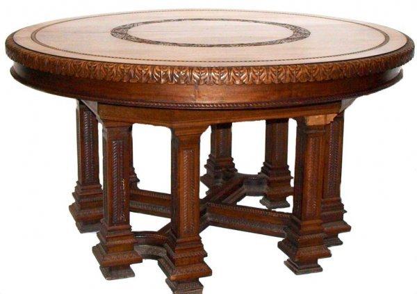 203: ANTIQUE ITALIAN WALNUT & PADOUK CARVED TABLE