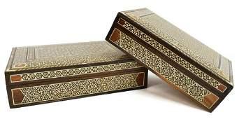 (2) ARABESQUE BONE & MOP INLAID TABLE BOXES