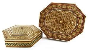 (2) ARABESQUE BONE & PARQUETRY INLAID TABLE BOXES