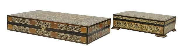 (2) ARABESQUE INLAID GAMES BOX & TABLE BOX