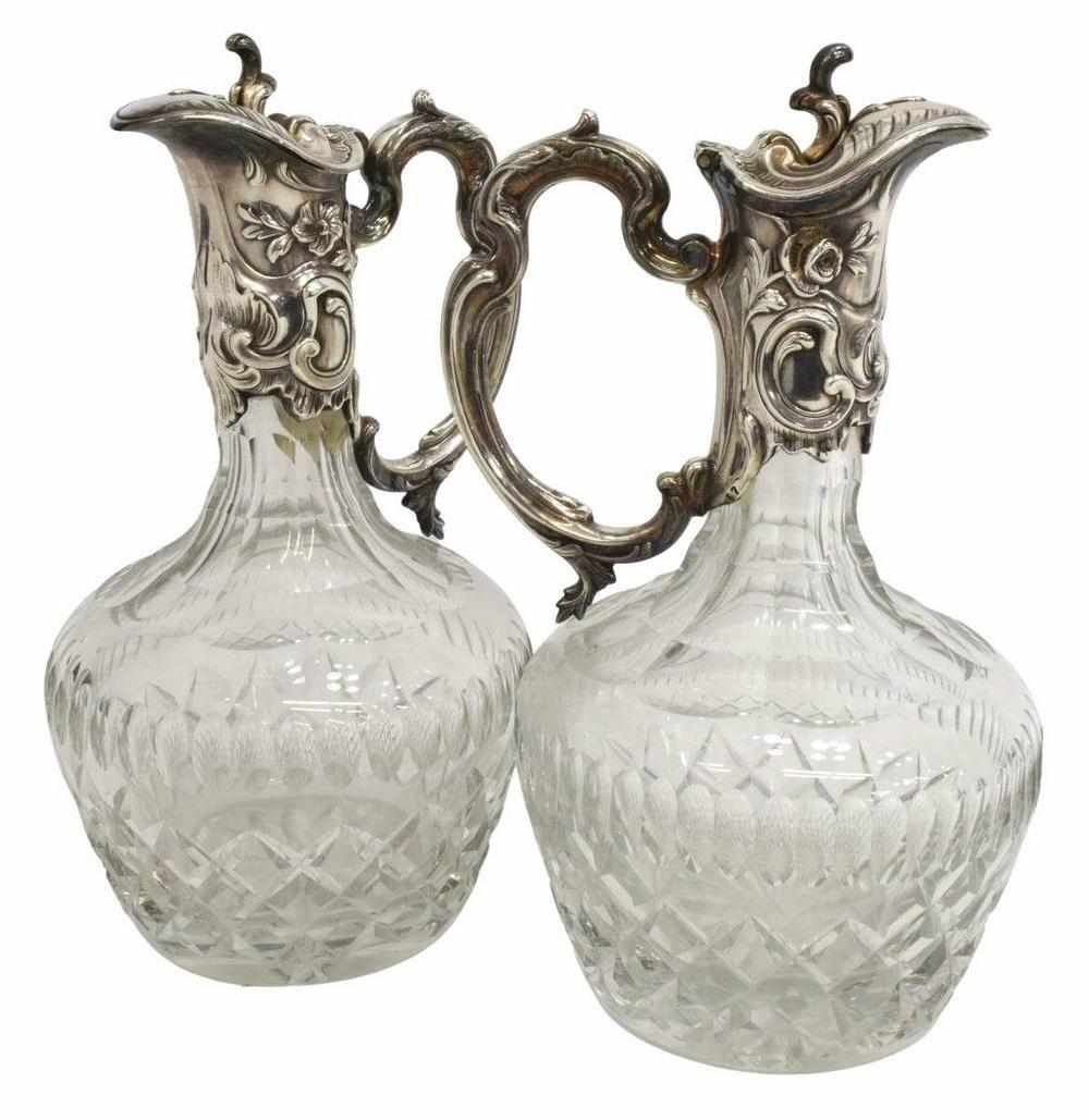 2) HEAVY SILVERPLATE-MOUNTED CUT GLASS CLARET JUGS