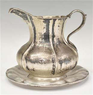 (2) ITALIAN HAMMERED .800 SILVER PITCHER & PLATE