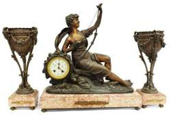 3) FRENCH FIGURAL MARBLE MANTEL CLOCK & GARNITURES
