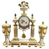 (3) LOUIS XVI STYLE MARBLE CLOCK & GARNITURES