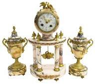 (3) LOUIS XVI STYLE MARBLE CLOCK & URN GARNITURES