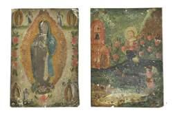 (2) SPANISH COLONIAL RELIGIOUS RETABLOS, MEXICO