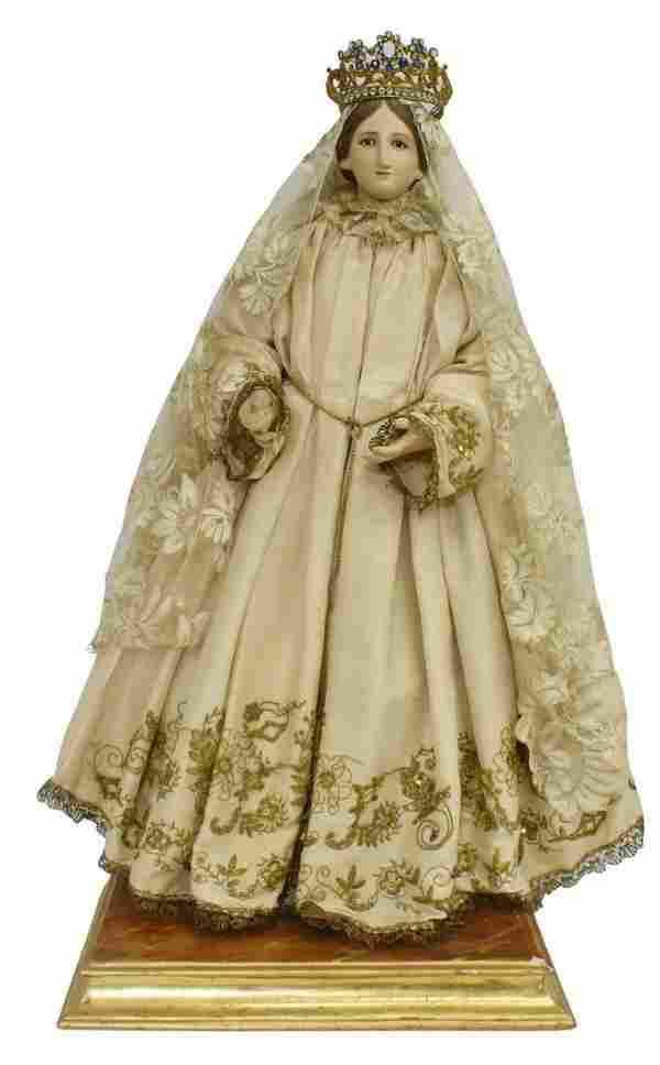 SPANISH COLONIAL CROWNED VIRGIN MARY SANTO FIGURE