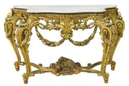 LOUIS XV STYLE MARBLETOP GILTWOOD CONSOLE TABLE